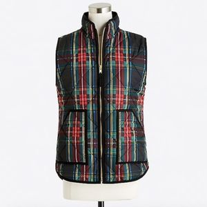 NEW J Crew Plaid Quilted Puffer Vest Red Green NWT